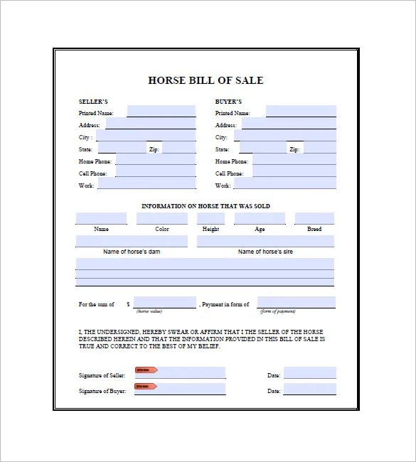 bill of sale for a horse - Ozilalmanoof