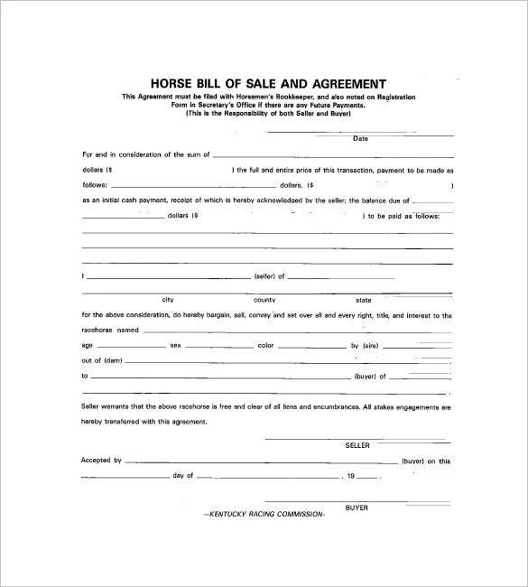 Horse Bill of Sale \u2013 8+ Free Word, Excel, PDF Format Downlaod Free