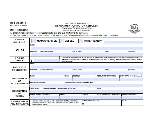 Bill of Sale Form \u2013 10+ Free Sample, Example, Format Download