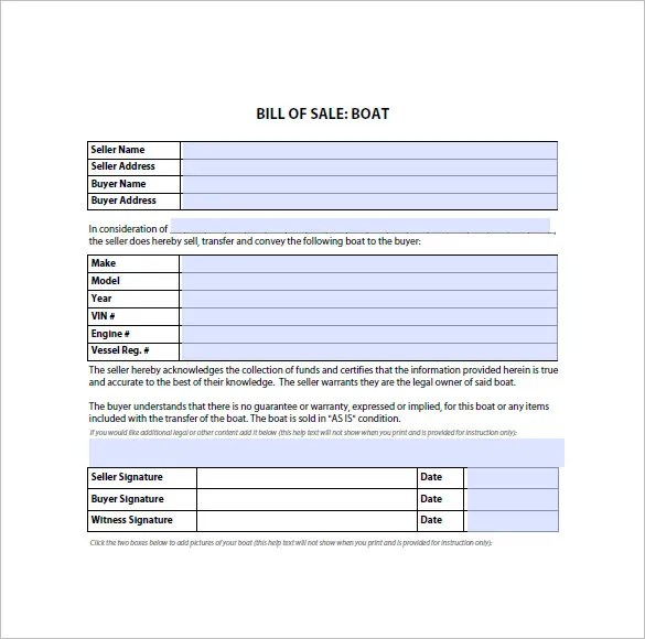 Bill of Sale Form u2013 10+ Free Sample, Example, Format Download - sample boat bill of sale