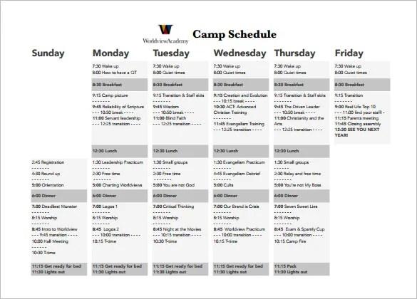 15+ Camp Schedule Templates - PDF, DOC, Xls Free  Premium Templates