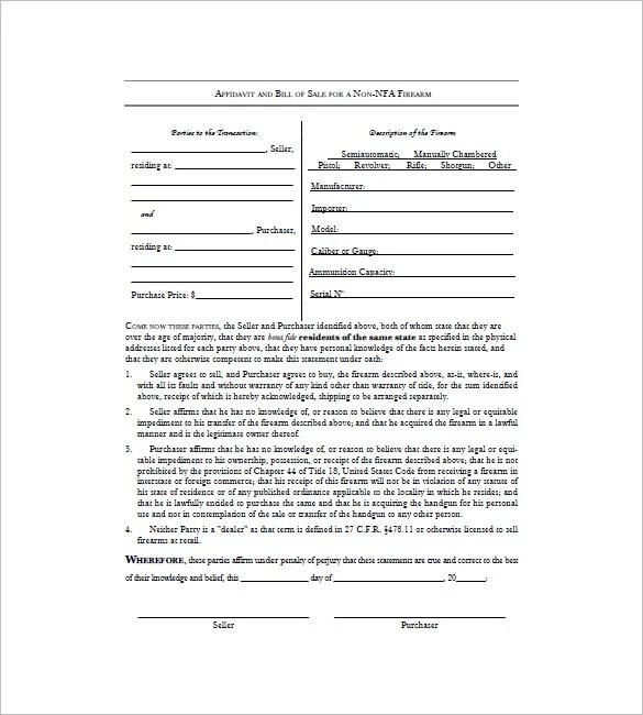 10+ Firearm Bill Of Sale PDF Templates Free Printable Templates