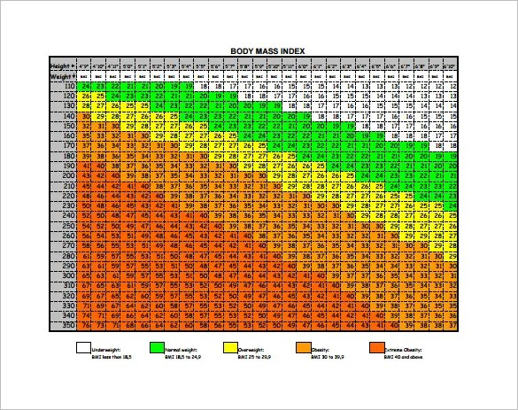BMI Chart Template \u2013 13+ Free Sample, Example, Format Download - bmi chart template