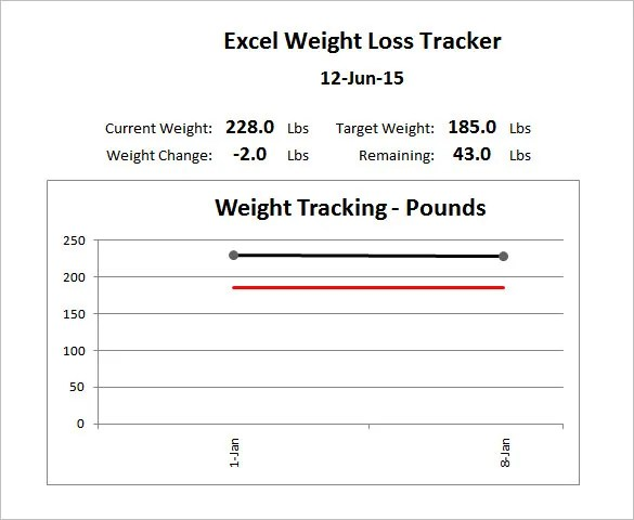 Weight Loss Chart Template \u2013 8+ Free Sample, Example, Format