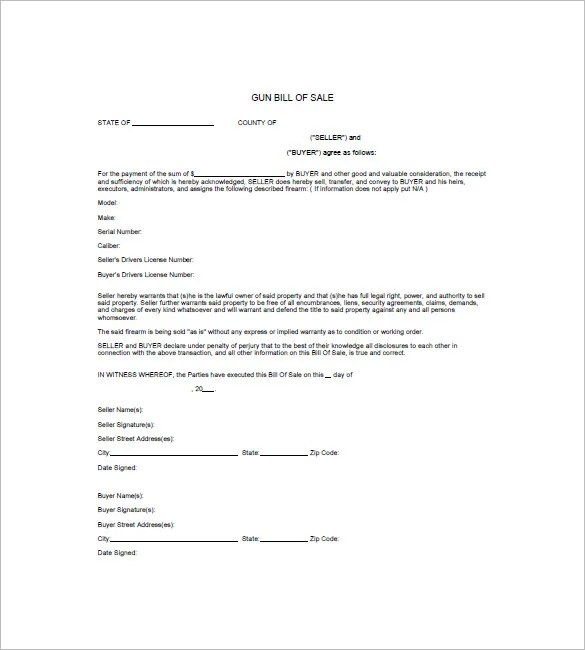 Gun Bill of Sale Template \u2013 10+ Free Word, Excel, PDF Format - free bill of sale template word
