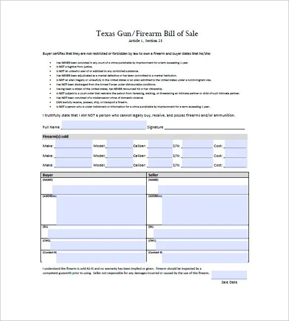 Gun Bill of Sale \u2013 10+ Free Sample, Example, Format Download! Free