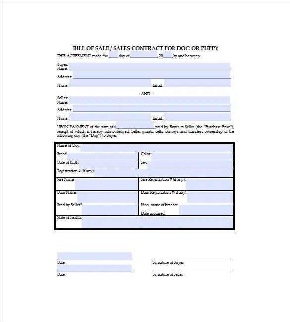 Dog Bill of Sale Template \u2013 13+ Free Word, Excel, PDF Format - free sales contract template