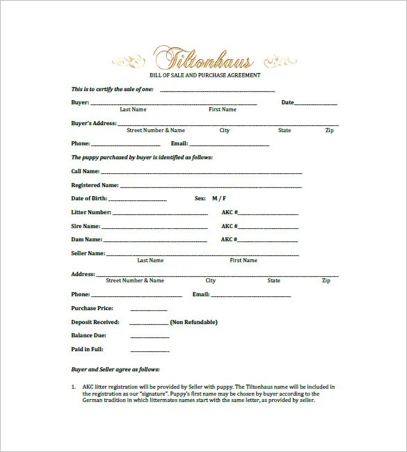 Dog Bill of Sale Template \u2013 13+ Free Word, Excel, PDF Format - puppy sales contract