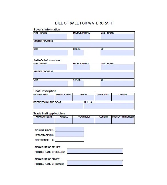 Watercraft Bill of Sale \u2013 8+ Free Word, Excel, PDF Format Download - bill of sales forms