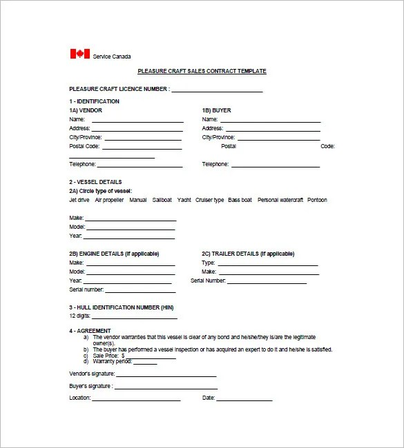 Watercraft Bill of Sale \u2013 8+ Free Word, Excel, PDF Format Download - free printable bill of sale for boat