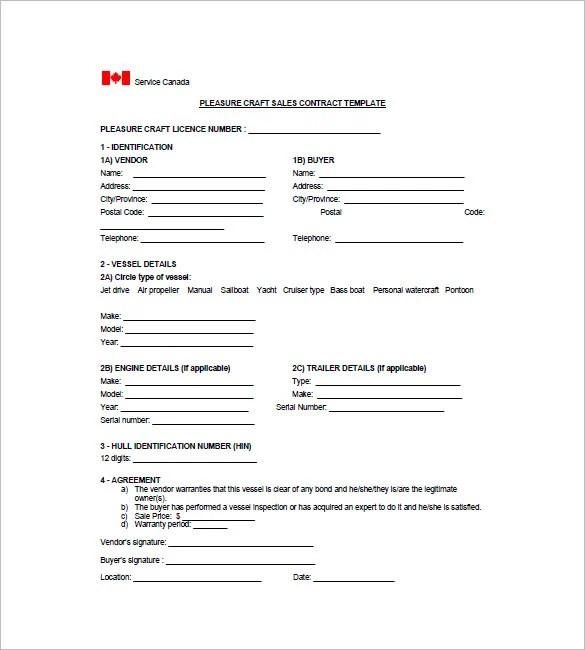 Watercraft Bill of Sale \u2013 8+ Free Word, Excel, PDF Format Download
