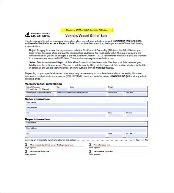 Watercraft Bill of Sale u2013 8+ Free Sample, Example, Format Download - sample boat bill of sale