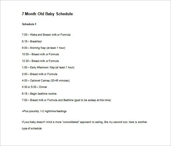 Baby Schedule Templates \u2013 9+ Free Word, Excel, PDF Format Download