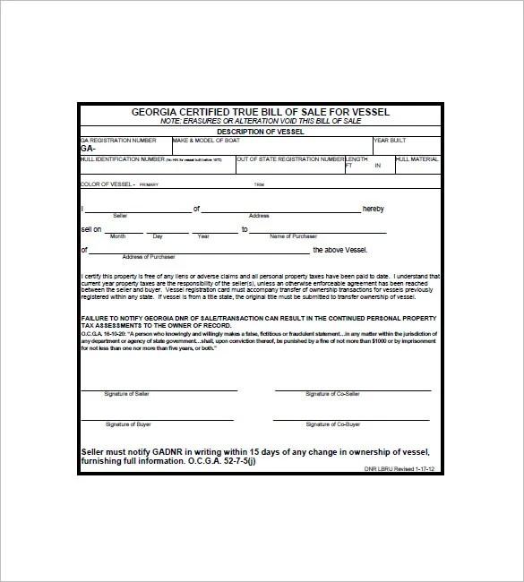Watercraft Bill of Sale u2013 8+ Free Word, Excel, PDF Format Download - boat bill of sale template