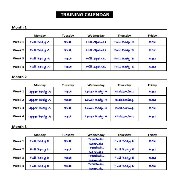 Exercise Schedule Template \u2013 7+ Free Word, Excel, PDF Format