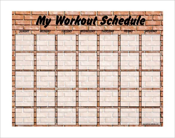 Exercise Schedule Template Images Template Design Ideas