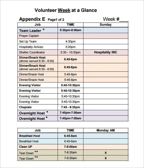 Volunteer Schedule Templates \u2013 11+ Free Word, Excel, PDF Format