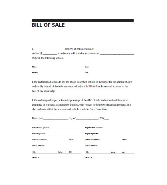 General Bill of Sale \u2013 14+ Free Word, Excel, PDF Format Download - general bill of sale template