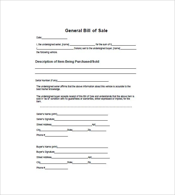 General Bill of Sale u2013 10+ Free Sample, Example, Format Download - sample bill of sale