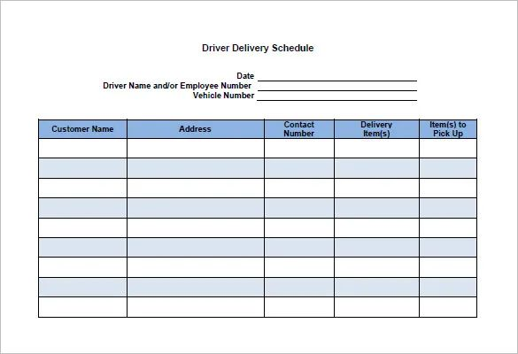 bus driver schedule template