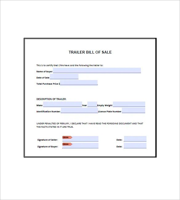 Trailer Bill of Sale \u2013 8+ Free Word, Excel, PDF Format Download