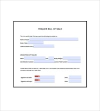 Trailer Bill of Sale  8+ Free Sample, Example, Format ...