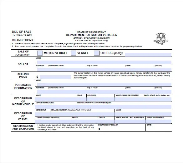 Trailer Bill of Sale \u2013 8+ Free Sample, Example, Format Download