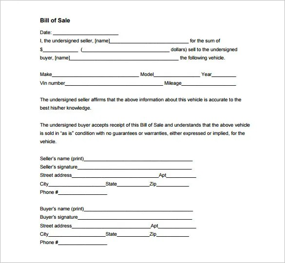 Auto Bill of Sale \u2013 8+ Free Word, Excel, PDF Format Download Free - microsoft word bill of sale