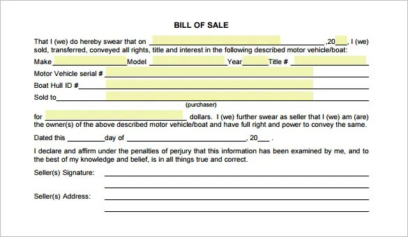 13+ Auto Bill of Sale - Free Sample, Example, Format Download - sample auto bill of sale