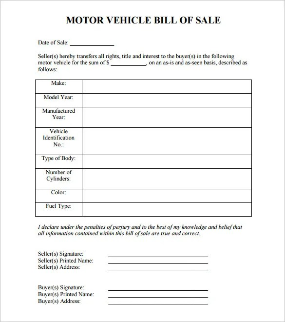 motor vehicle bill of sale template - Romeolandinez