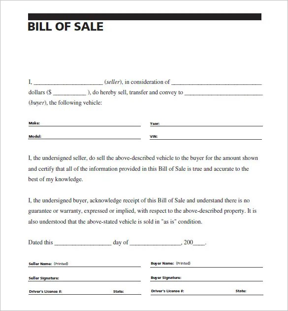 13+ Auto Bill of Sale - Free Sample, Example, Format Download - sample bill of sale
