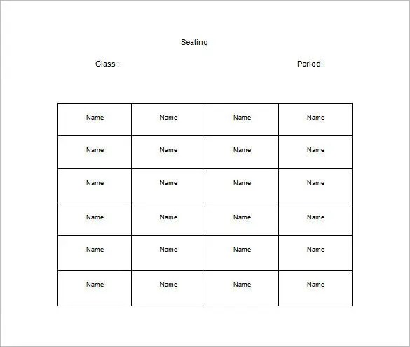 classroom seating chart template - Klisethegreaterchurch