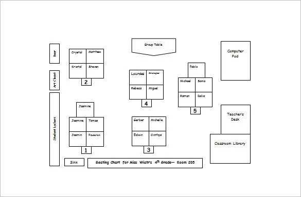 classroom seating chart template word
