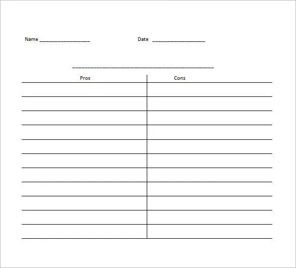 pros and cons chart template - Canasbergdorfbib