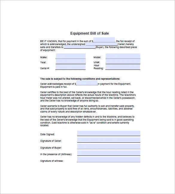 Equipment Bill of Sale - 6+ Free Sample, Example, Format Download