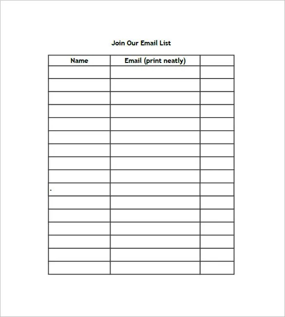 email contact list template - shefftunes