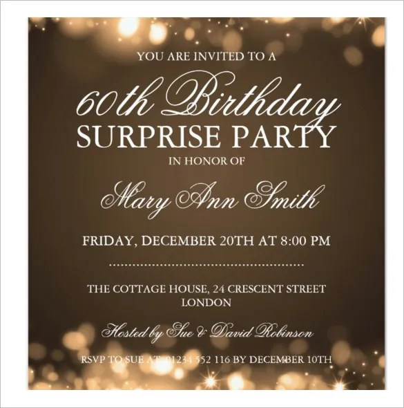 Free 60 Surprise Birthday Invitation Template Wording - format for birthday invitation