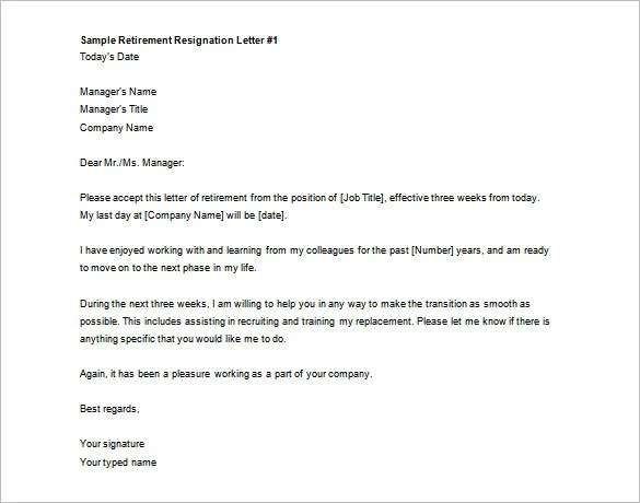 resignation retirement letters