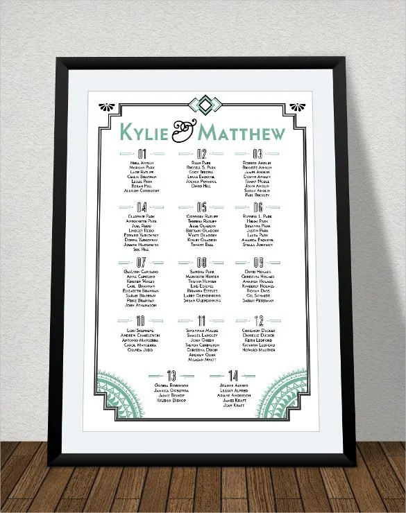 34+ Wedding Seating Chart Templates - PDF, DOC Free  Premium - free printable seating chart