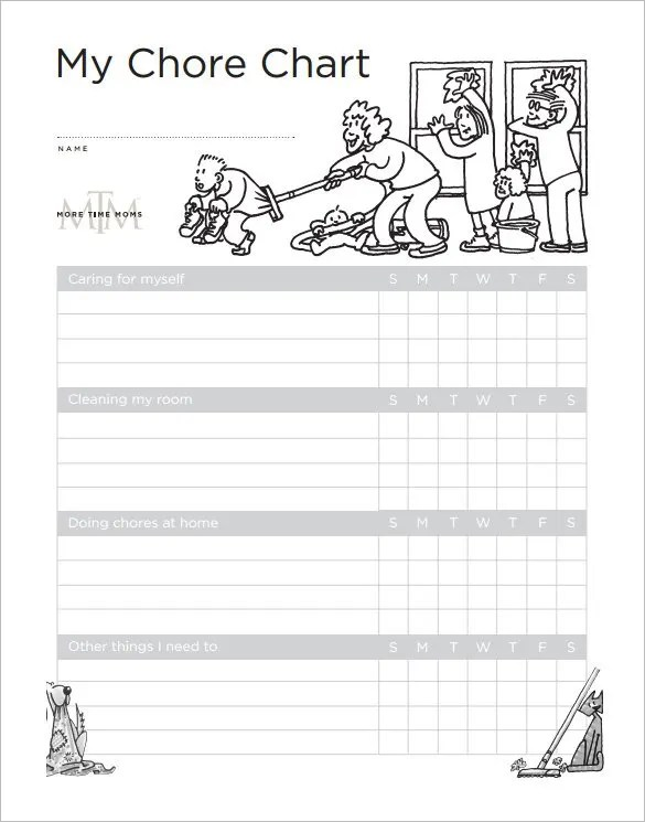 Sample Chore List Sample Childrens Daily Chore Chart Excel Free - sample chore chart