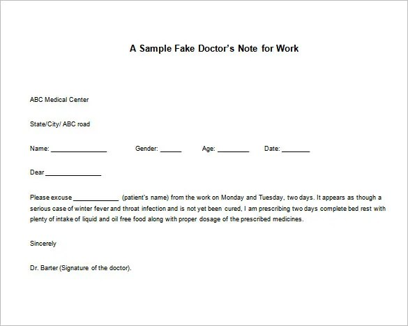 Doctor Note Templates for Work \u2013 8+ Free Sample, Example, Format - doctor note example