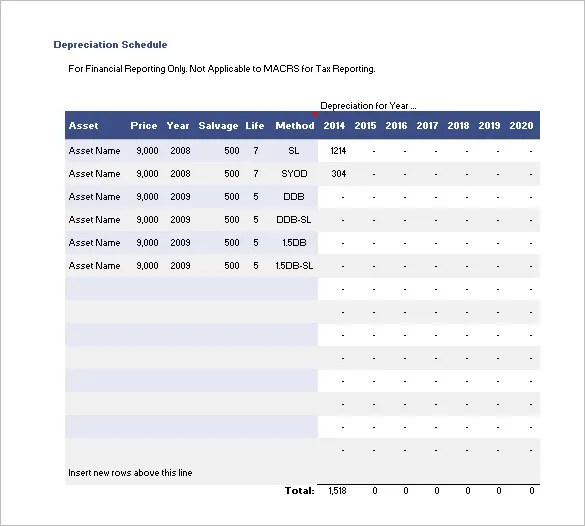 Depreciation Schedule Template \u2013 9+ Free Word, Excel, PDF Format