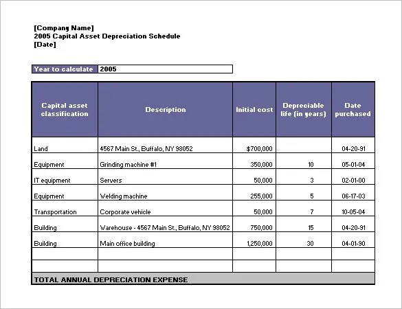 Depreciation Schedule Template \u2013 9+ Free Word, Excel, PDF Format - Sample Schedules - Amortization Schedule Excel
