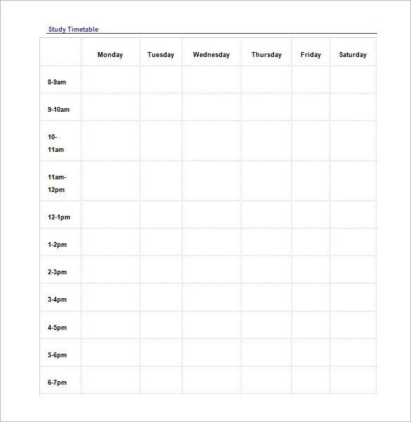 19+ Study Schedule Templates - PDF, DOC Free  Premium Templates - study timetable
