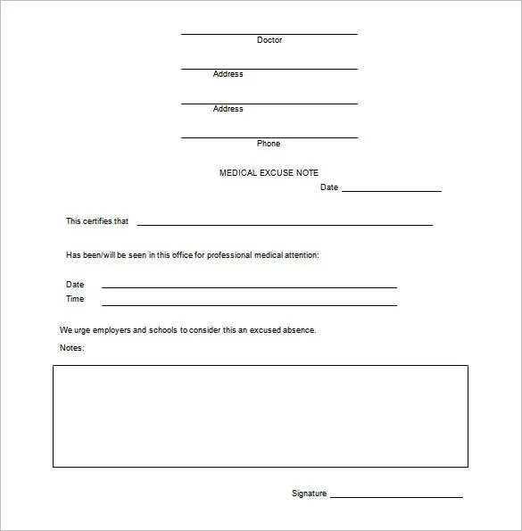Doctor Excuse Template \u2013 9+ Free Sample, Example, Format Download - Medical Templates For Word