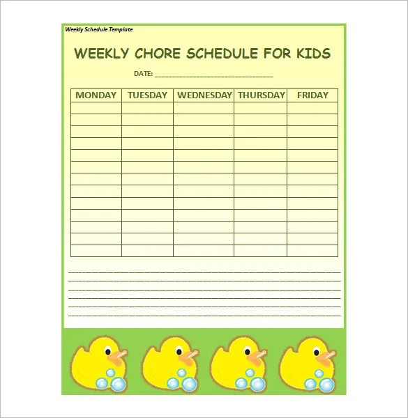 12+ Weekly Schedule Templates - DOC, PDF Free  Premium Templates