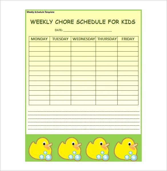 weekly chore template