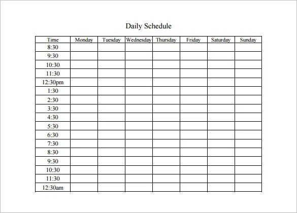 Daily Schedule Template - 12+ Free Sample Example Format Download - daily scheduler template