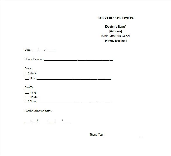 Doctor Note Template \u2013 10+ Free Sample, Example, Format Download - doctor note example