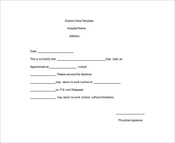 Doctor Note Templates for Work u2013 8+ Free Sample, Example, Format - doctors note template